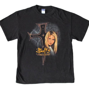 Vintage Buffy The Vampire Slayer Black T-Shirt Deadstock NWOT BTVS Promo