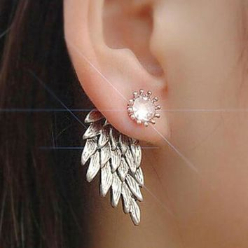 HOMHUL Women's Angel Wings Stud Earrings Inlaid Crystal Alloy Ear Jewelry Party Earring Gothic Feather Brincos Fashion 2017