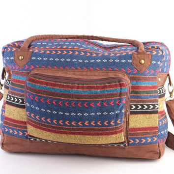 Tribal Arrow Carryall Bag, Duffle Bag, College Bag, Cloth Bag, Hipster Weekender Bag, Teacher Bag