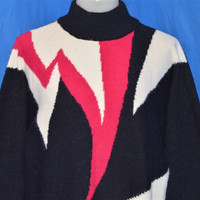 90s Abstract Black White Pink Ugly Mock Turtleneck Sweater Women's Large