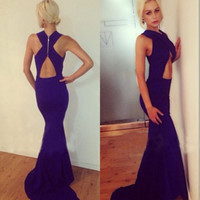 Sexy Women Open Backless Cross Neck Prom Cocktail Maxi Long Gown Dress