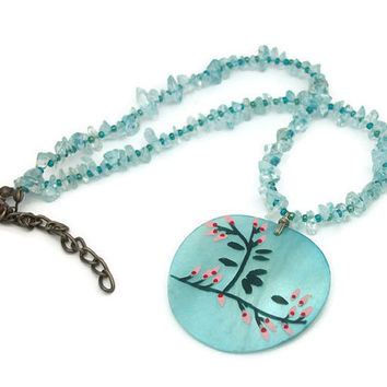 Ice Blue Shell & Glass Bead Choker Collarbone Pendant Necklace w/ Extender Handpainted Cherry Blossoms Asian Inspired Round Shell Medallion