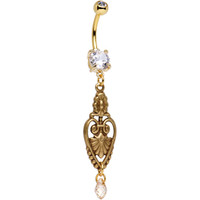 Handcrafted Clear CZ Gold Plated Lioness Heart Dangle Belly Ring | Body Candy Body Jewelry