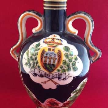 Italian Pottery Bottle with Cork Marmaca San Marino