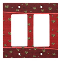 Gold Hearts Reds Light Switch Cover