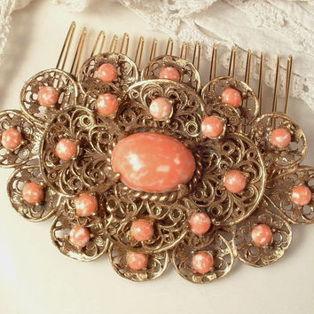 Brooch OR Hair Comb Coral Peach Antique Gold Filigree Bridal Hair Comb or Brooch, Heirloom True Vintage Art Deco Czech Pin or OOAK Headpiece
