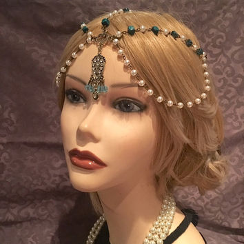 1920's BLUE Flapper Headpiece Head Chain Rhinestone White Gatsby Costume Antique Gold Tassel Adjustable 20's Wood Green Vintage Headband
