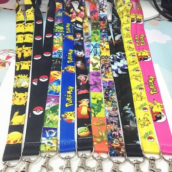 Lot 10 PCS different  Pikachu key lanyard ID badge card holder keychain Neck straps for mobile phone Cosplay accessoriesKawaii Pokemon go  AT_89_9
