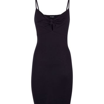 Black Tie Front Bodycon Dress | New Look