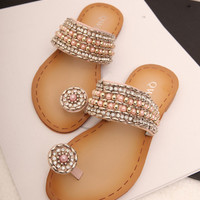 Rhinestone and Beads Flat Sandals