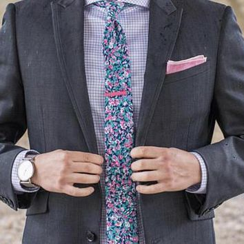 Skinny Floral Tie,Boyfriend Gift Men's Gift Anniversary Gift for Men Husband Gift Wedding Gift Gift For Him Groomsmen Gift Gift for Friend