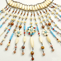 Vintage Creaz Bianco Italy Bib Necklace Southwestern Style Statement Jewelry