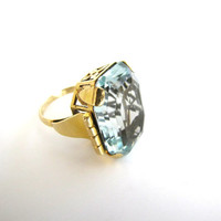 Vintage Aquamarine Ring Art Deco 18K Gold from AllieEtCie ~ Free Shipping