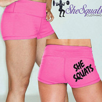 "She Squat Clothing Pink Gym Shorts with 2.5"" inseam, HIDDEN POCKET"