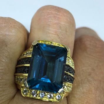 Vintage genuine London blue topaz golden 925 sterling silver Ring