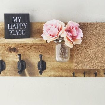 Entryway Organizer with Cork Board (FLOWERS INCLUDED), Coat Holder, Mason Jar Decor, Farmhouse Decor