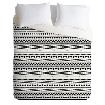 Allyson Johnson Black And White Aztec Pattern Duvet Cover