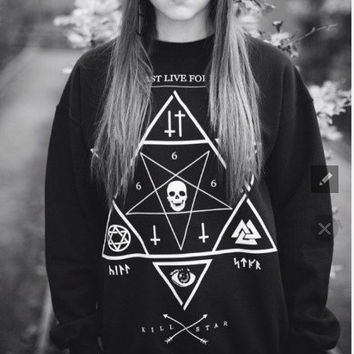 harajuku style Star print hoodies Skull Cross sweatshirts 2015winter new pullover plus size