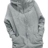 Winter Women Full Zip Hoodie Varsity Hoody Hooded Coat Light Gray XL