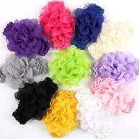 """Qandsweet Baby Girl's Hairbands Hair Bow (10pcs 4"""" Flower 1.5"""" Band)"""