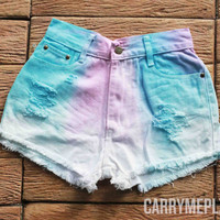 Pastel Tie dye Shorts Denim Tye Dye High Waisted Jean Pastel Rainbow Colorful Shorts