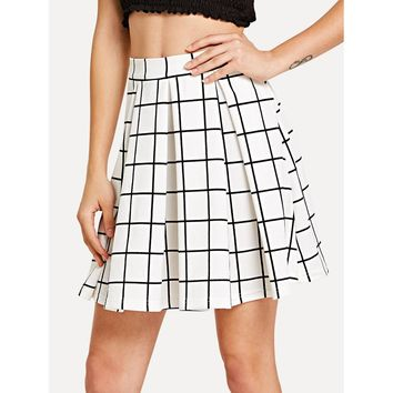 Box Pleated Grid Skirt