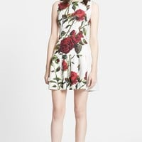 Women's Dolce&Gabbana Rose Print Brocade A-Line Dress