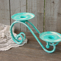 Candle Holder, Shabby Chic, Tiffany Blue, Aqua, White, Hand Painted, Pillar, Taper, Metal, Beach Decor