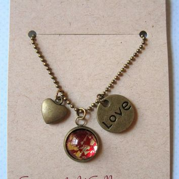 Antiqued Gold-tone Red Glitter Glass Heart Love Disc Charm Pendant Necklace