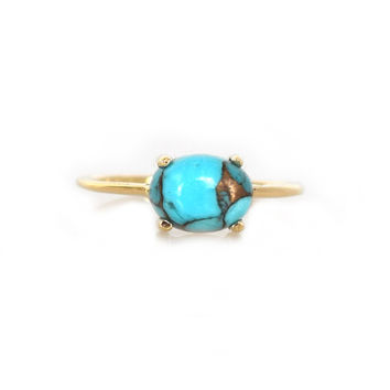 14kt Gold Copper Turquoise Venezzia Ring