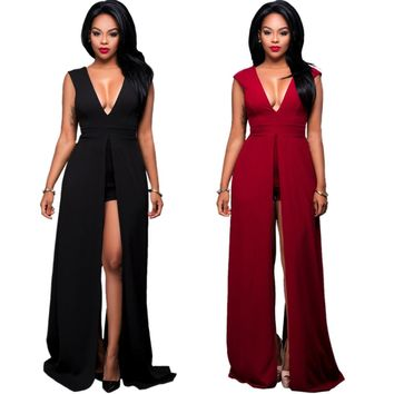 Londinas Ark Store New 2017 Elegant Bohemian Rompers Bodysuits Overalls Skinny Bodycon Sexy Deep V-Neck Catsuit Womens Jumpsuits