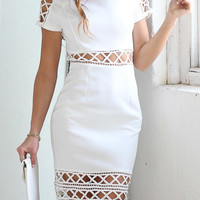 White Cut Out Strappy Short Sleeve Dress