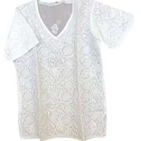 Mogul Interior Womens Top Blouse Ivory Floral Hand Embroidered Elegant Indian Tunic Cover Up M