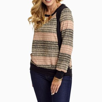 Black-Pink-Grey-Printed-Chiffon-Accent-Sweater-Top