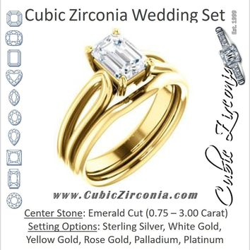 CZ Wedding Set, featuring The Piper engagement ring (Customizable Emerald Cut Solitaire with Flared Split-band)