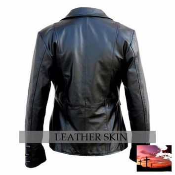 Leather Skin Women Black Brando Button Style Genuine Leather Jacket
