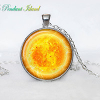 SUN Pendant  SUN Necklace Galaxy necklace Space pendant sun orange Jewelry Necklace for him  Art Gifts for Her(P11H01V04)