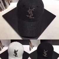 """Yves Saint Laurent YSL"" Women Casual Fashion Diamond  Letter Logo Baseball Cap Flat Cap Sun Hat"