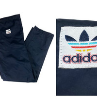 Adidas Pants Navy Blue Rainbow Trefoil Logo Vintage 90s 80s Athletic Track Nylon Unlined Bottoms Retro Old School Sporty Hip Hop REPAIRED