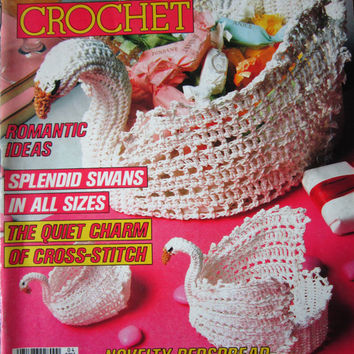 Magic Crochet Magazine, Vintage April 1988, Full Color Crochet Patterns, Filet Crochet, Doilies, Swans, Bedspread Patterns, Charts with
