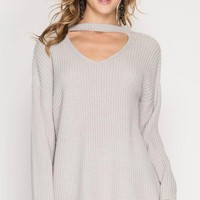 Choker Neck Sweater - Stone