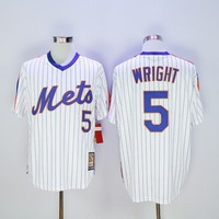 MLB  York Mets #5 David Wright White(Blue Strip) Cooperstown Throwback Stitched Jerseys MLB Baseball Jersey
