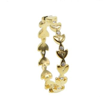 delicate gold Color Sparkling LEAVES real 925 sterling SILVER RING WITH CUBIC ZIRCONIA for Women simple dainty cute Jewelry