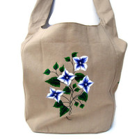 Painted Hobo Bag With Blue and White Flowers