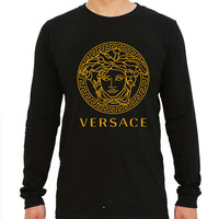 versace logo gold for long sleeved Mens and long sleeved Girls