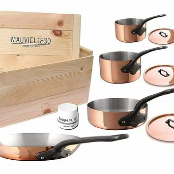Mauviel M'250c 7 Piece Copper Cast Stainless Steel Cookware Set with Wooden Crate