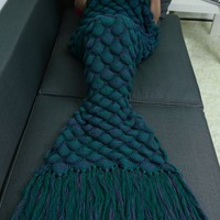 Crochet Knitting Fish Scales Tassel Design Mermaid Tail Blanket