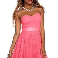 Coral Floral Crochet Overlay Sexy Strapless Dress