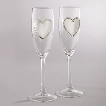 Pair Glass Flutes with Engraveable Pewter Heart Plates - Engravable Gift Item