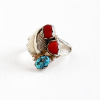 Vintage Sterling Silver Turquoise & Coral Ring - Size 7 Retro 1970s Native American Tribal Southwestern Feather Teal Blue Red Gem Jewelry